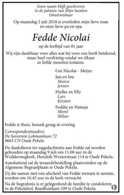 Dichter Fedde Nicolai Overleden